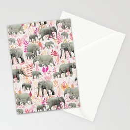 Sweet Elephants in Pink, Orange and Cream Stationery Cards