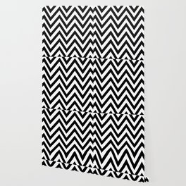 Black & White Abstract Stripes - Zigzag Wallpaper