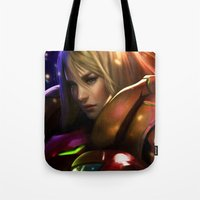 samus Tote Bags featuring Samus by KlsteeleArt
