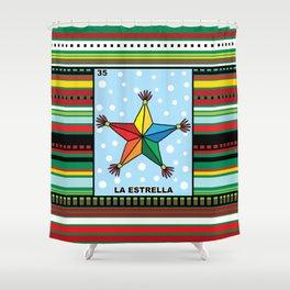 Christmas Loteria La Estrella Shower Curtain