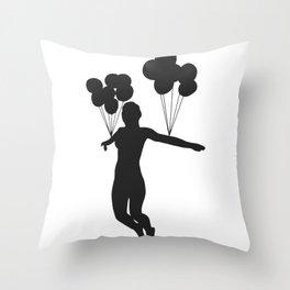 Balloon Woman Throw Pillow