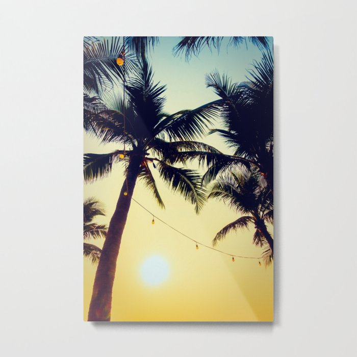 Vintage Palm trees with patio lanterns Metal Print