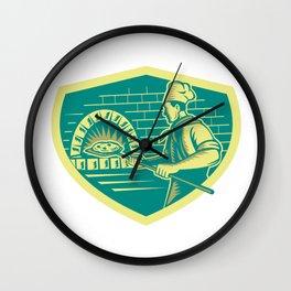 Pizza Maker Holding Peel Crest Woodcut Wall Clock