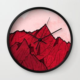 Red mountains under the great moon Wall Clock