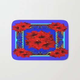 Red Amaryllis Flowers Blue Abstract Bath Mat
