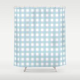 Farmhouse Gingham in Dusty Blue Shower Curtain