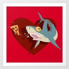 Pizza Shark Art Print