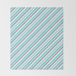 Deep Sea Green Turquoise Violet Inclined Stripes Throw Blanket