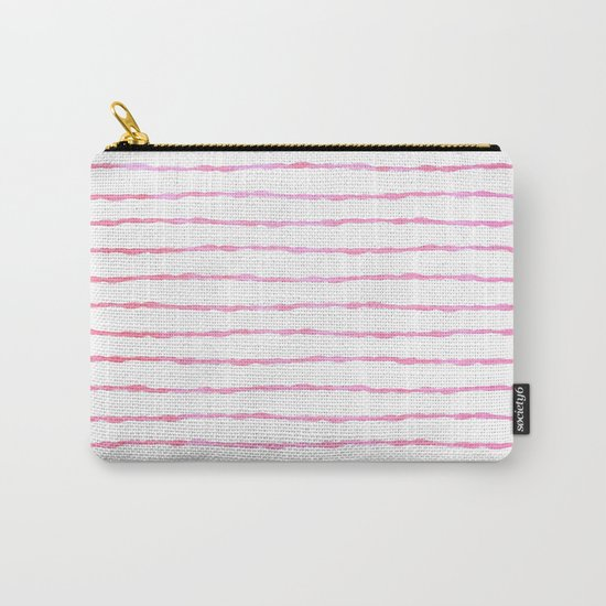 fine pink handpainted stripes on clear white Carry-All Pouch