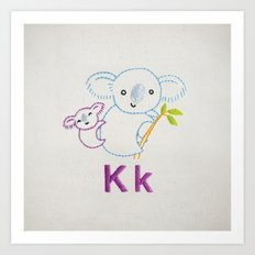 K Koala Art Print