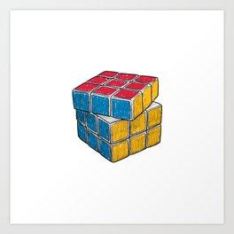 Rubik's Cube drawing Art Print