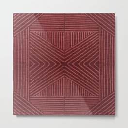 Rich red lines - abstract geometric pattern Metal Print