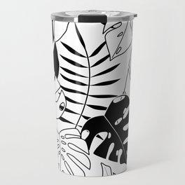 black and white tropical minimal leaves poster Travel Mug
