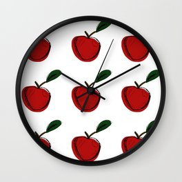 Hand Drawn Red Apple Wall Clock