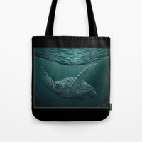 """biology Tote Bags featuring """"Eclipse"""" - Green Sea Turtle, Acrylic by Amber Marine"""