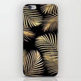 Gold Palm Leaves on Black iPhone Skin