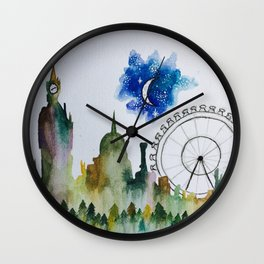Cityscape into Forest Wall Clock