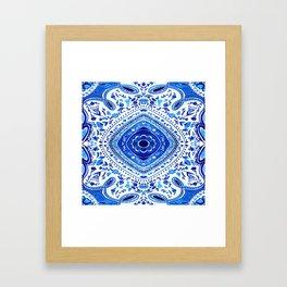 Indigo Mandala Tapestry Pattern 2 Framed Art Print