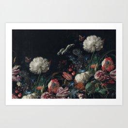 Dutch dark Dramatic Floral arrangement Art Print