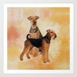 Airedale Terriers Digital Art Art Print