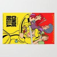 kill bill Area & Throw Rugs featuring Pop Art Mashup: Kill Bill - Cinderella by Thomas Bergmann