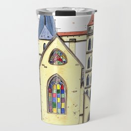 Gothic Church in Germany whimsical watercolor painting Travel Mug