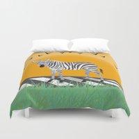 zebra Duvet Covers featuring Zebra by Nir P
