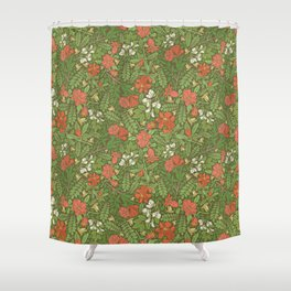 Pomegranate flowers with grasshoppers on green background Shower Curtain