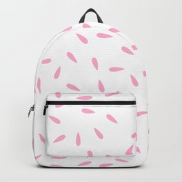 Hot Pink Raindrops on White Background Backpack