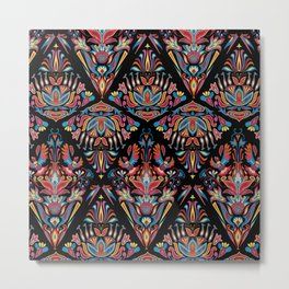 Bright colorful geometric floral tradition pattern Metal Print