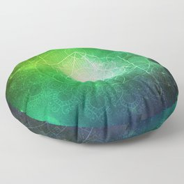 Abstract Deep Space Portal Blue-Green Floor Pillow