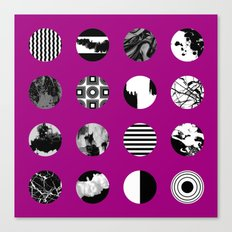 Purple Delight - Black And White Eclectic Random Designs On A Purple Background Canvas Print