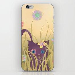 Wild Kitty Cat, Spring Blooming Flowers, Golden Beige Sky iPhone Skin
