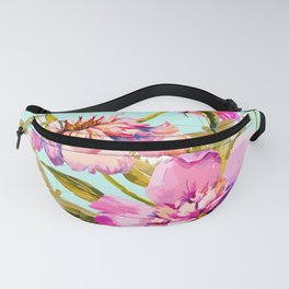 Flowery nature and golden butterfly Fanny Pack