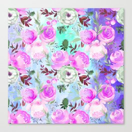 Blush pink lilac lavender teal watercolor roses pattern Canvas Print