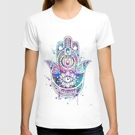 Hamsa Hand Watercolor Poster Wedding Gift T-shirt