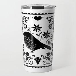 Woodland Folk Black And White Blue Bird Tile Travel Mug
