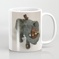 steam punk Mugs featuring Steam Punk Elephant by Lily Dee Designs