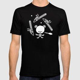 Cute Teddy Juggling 2 Balls, 3 Chainsaws and Club T-shirt