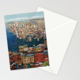 Boston seaport view from the hill Stationery Cards