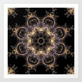 Purple and Gold Fractal Kaleidoscope 2 Art Print