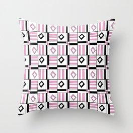 symetric tartan and gingham 3 -vichy, gingham,strip,square,geometric, sober,tartan Throw Pillow