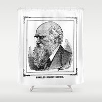 darwin Shower Curtains featuring Charles Robert Darwin by Bramble & Posy