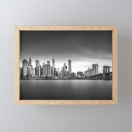 Monochrome panorama of Manhattan Framed Mini Art Print