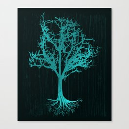 Magical Tree At Night Nature Design In Blue Canvas Print