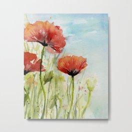 Red Flowers Watercolor Poppies Metal Print