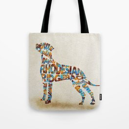 Rhodesian Ridgeback Dog Typography Art / Watercolor Painting Tote Bag