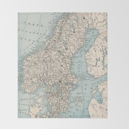 Vintage Map of Norway and Sweden (1893) Throw Blanket