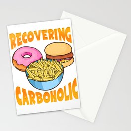 Funny Recovering Carboholic Carb Low-Carb Dieting Stationery Cards