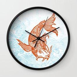 Koi block print Wall Clock